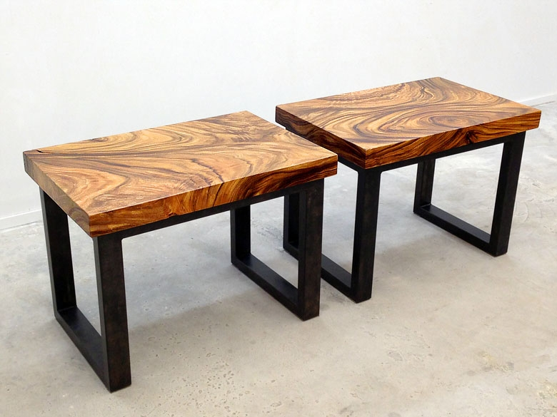 Pair of custom nightstands cut from the same slab
