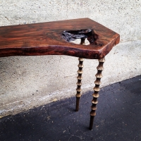 Claro walnut console table, custom cast bronze legs