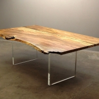 Mango dining table with custom acrylic panel bases