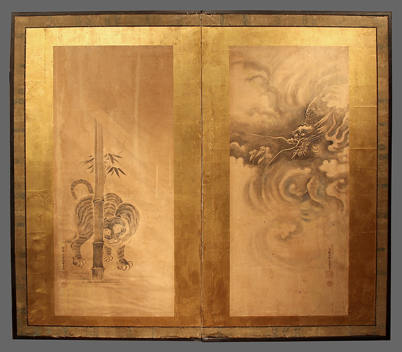 Edo period tiger and dragon screen - two panel - We have between 50-100 screens in stock - please contact the gallery for more info