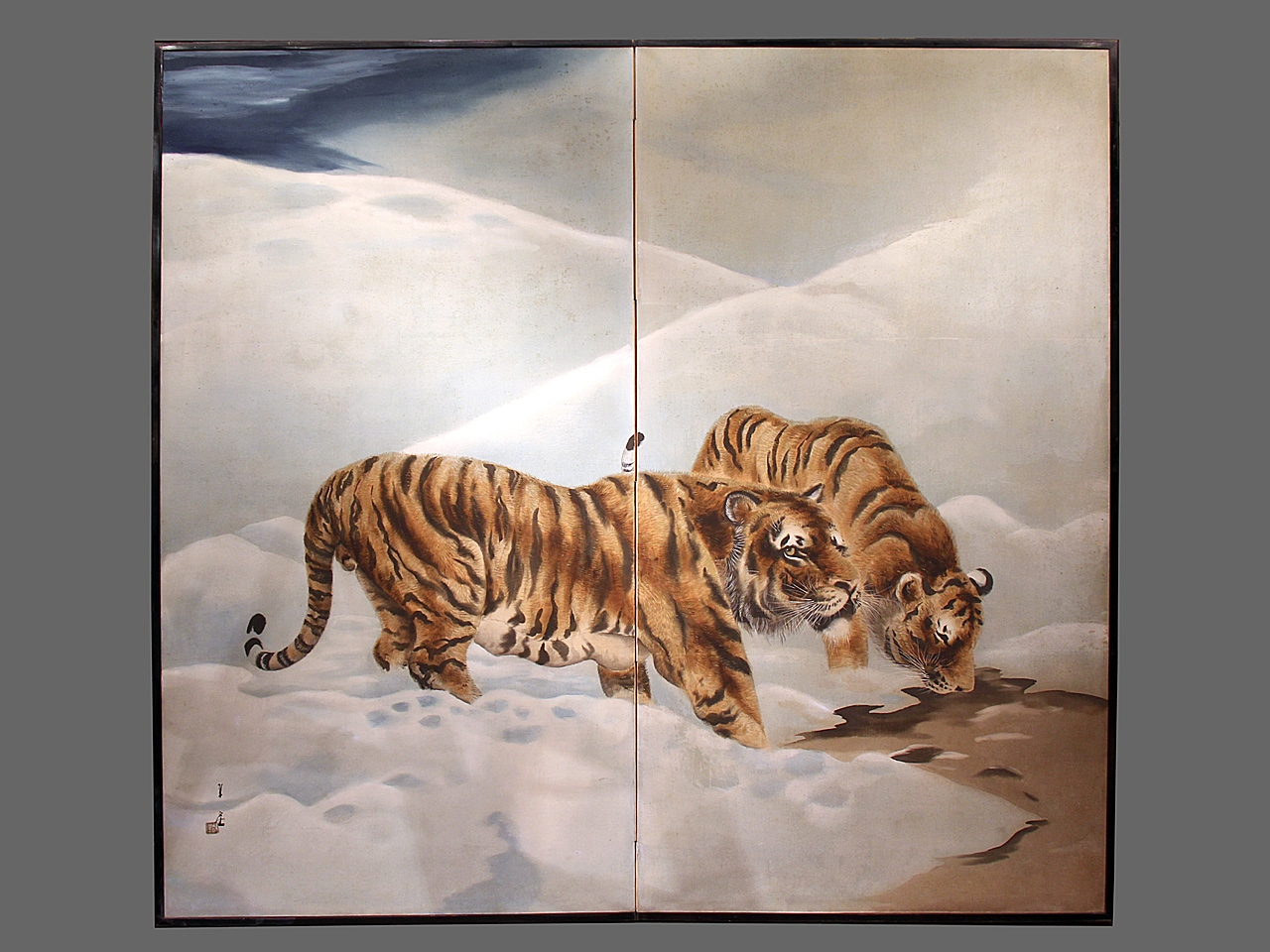 Vintage Japanese Screen - Two Tigers