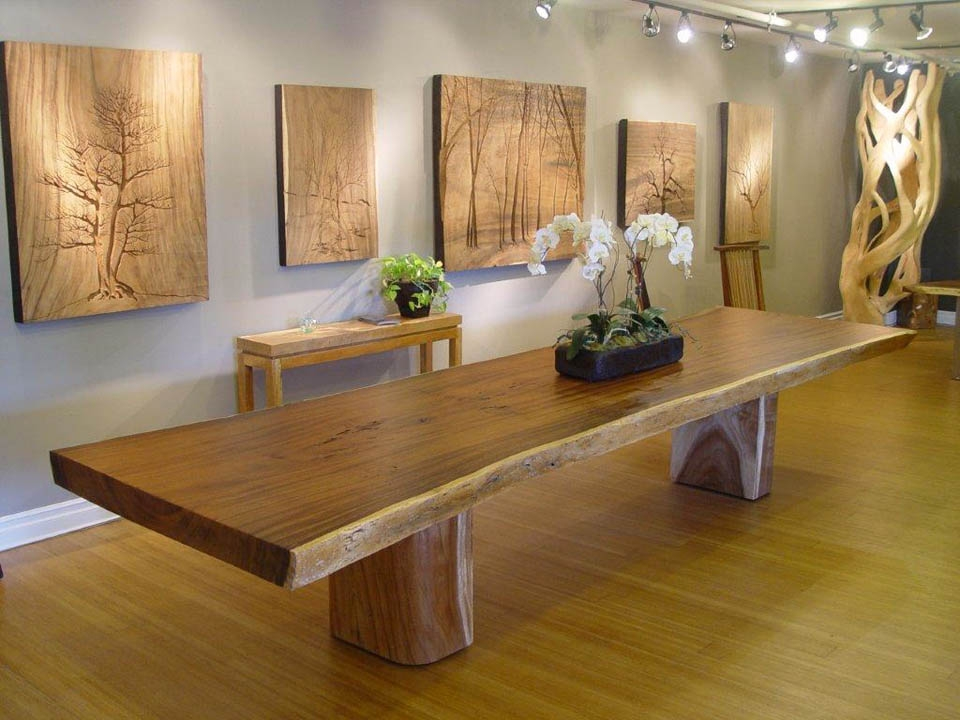 Large acacia slab table with pillar bases
