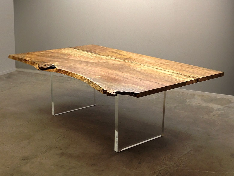 Mango dining table with custom acrylic panel legs
