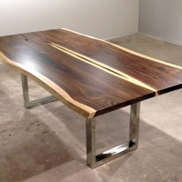 Rosewood dining table - bookmatched with mirror polished stainless steel base