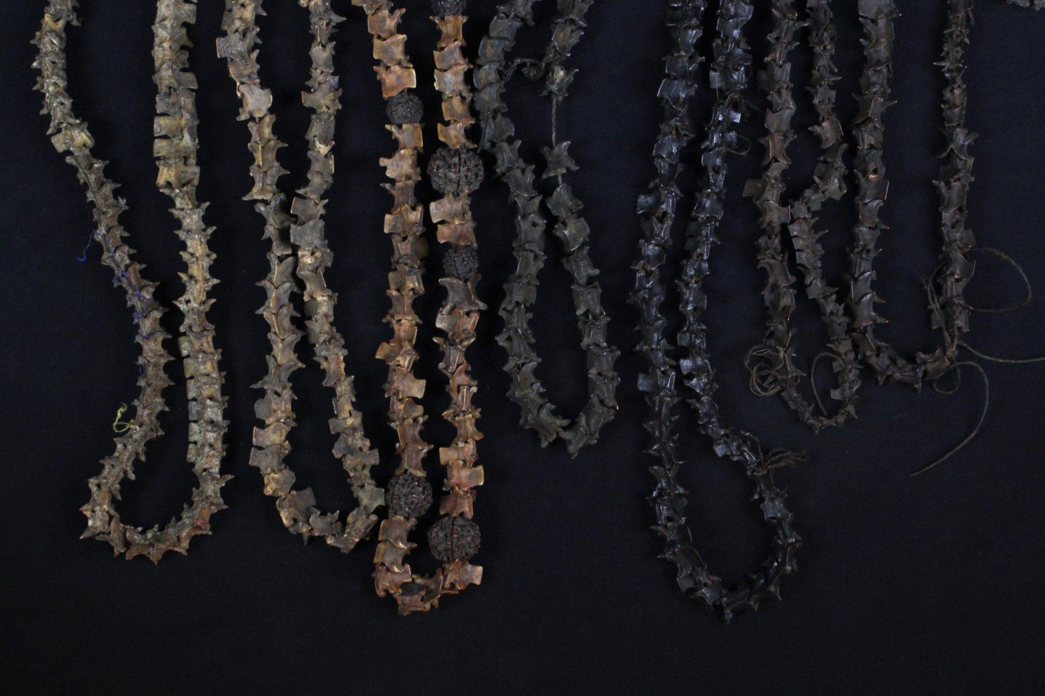 Snake Vertebrae Necklace Early 20th c. Snake Vertebrae, Rudraksha seeds Invokes snake gods to protect shaman during healing rituals