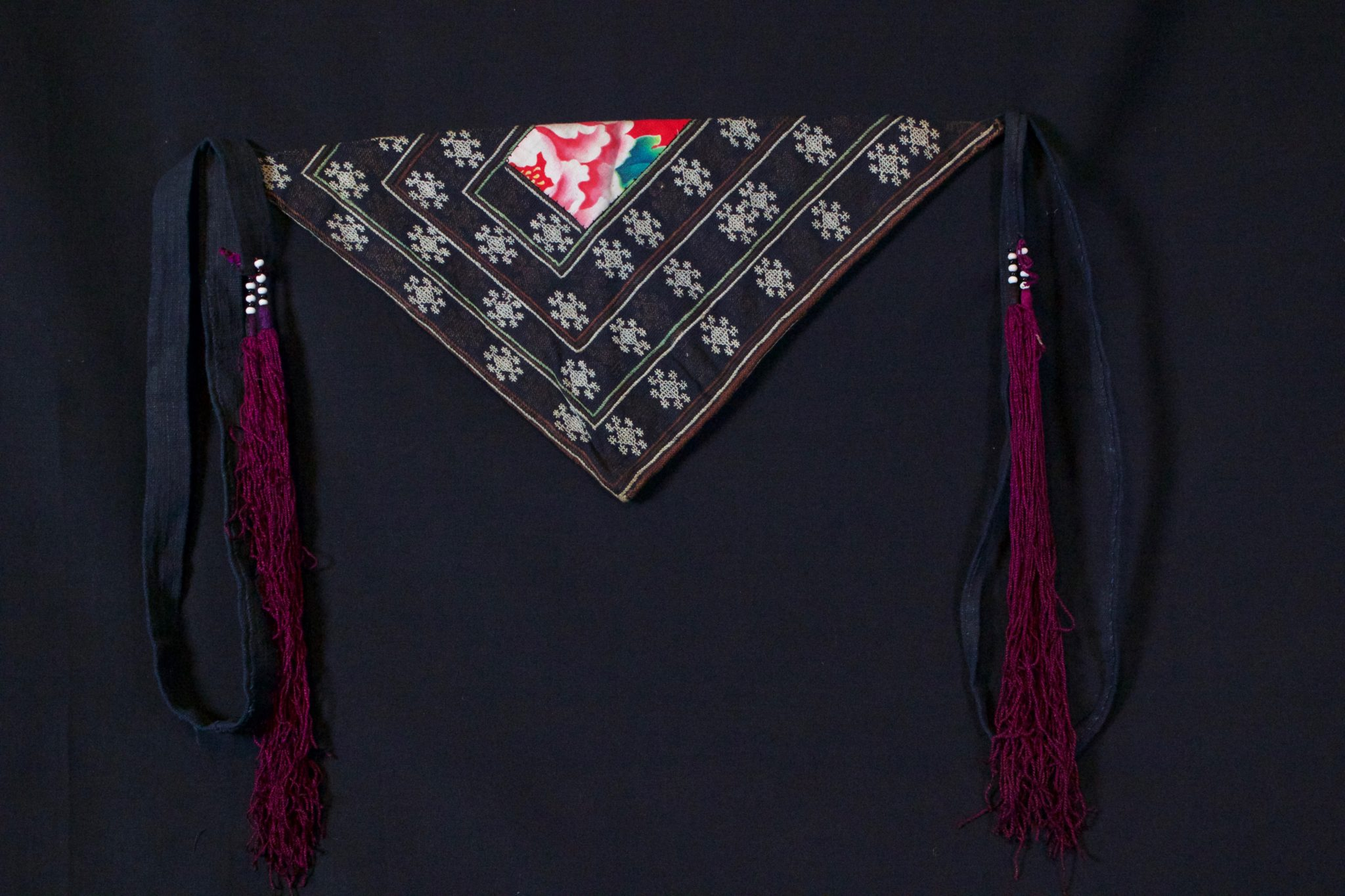 "Shaman's Ritual Costume Headscarf (from full costume - see above image), Shaman Priest's Costume, complete outfit; Robe, Skirt, Belt and Scarf, Vietnam, Tao people, Mid 20th c, Cotton, silk embroidery. Worn by shaman/priests for all ceremonies. (118"" x 9 ½"" scarf)"