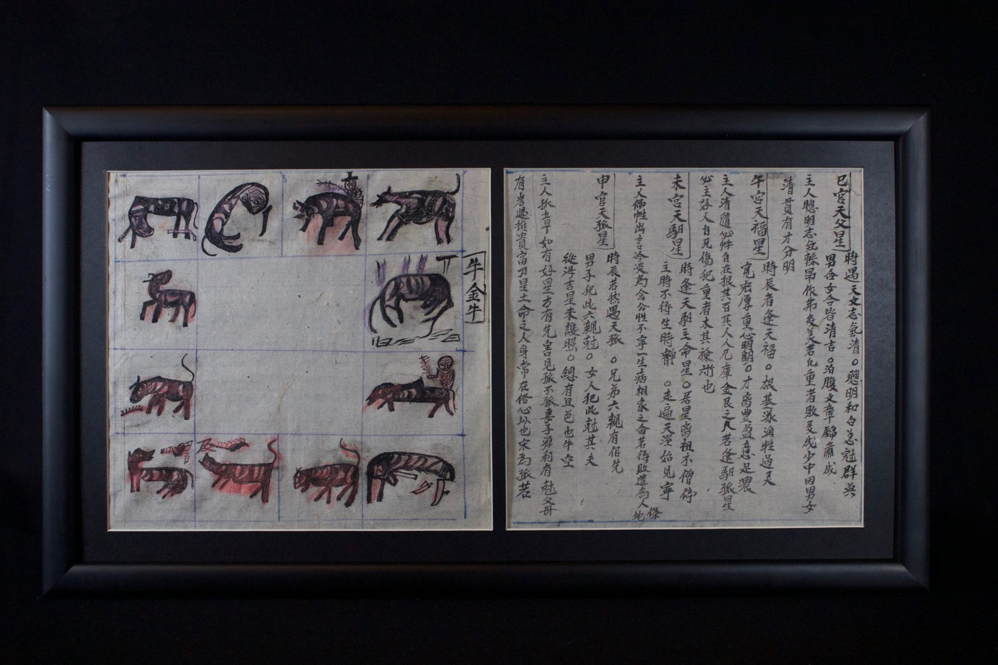 "Shaman's Personal Instruction Book, Cao Bang province, Vietnam Red Yao people, Early 20th c, Ink on handmade mulberry paper (tapa), Written in Nom (Chinese characters adapted to Vietnamese), books are an integral part of a shaman's repertoire. They range from explanations of various rituals and use of objects, to astrology, history, songs, laws, etiquette, children's tales, hunting practices, formulas, spells and Feng Shui. Shaman make their own books to help store their knowledge therefore no two are alike and a high level shaman will have a large library. 9 ½"" x 8 ½"" x ¾"", $850."