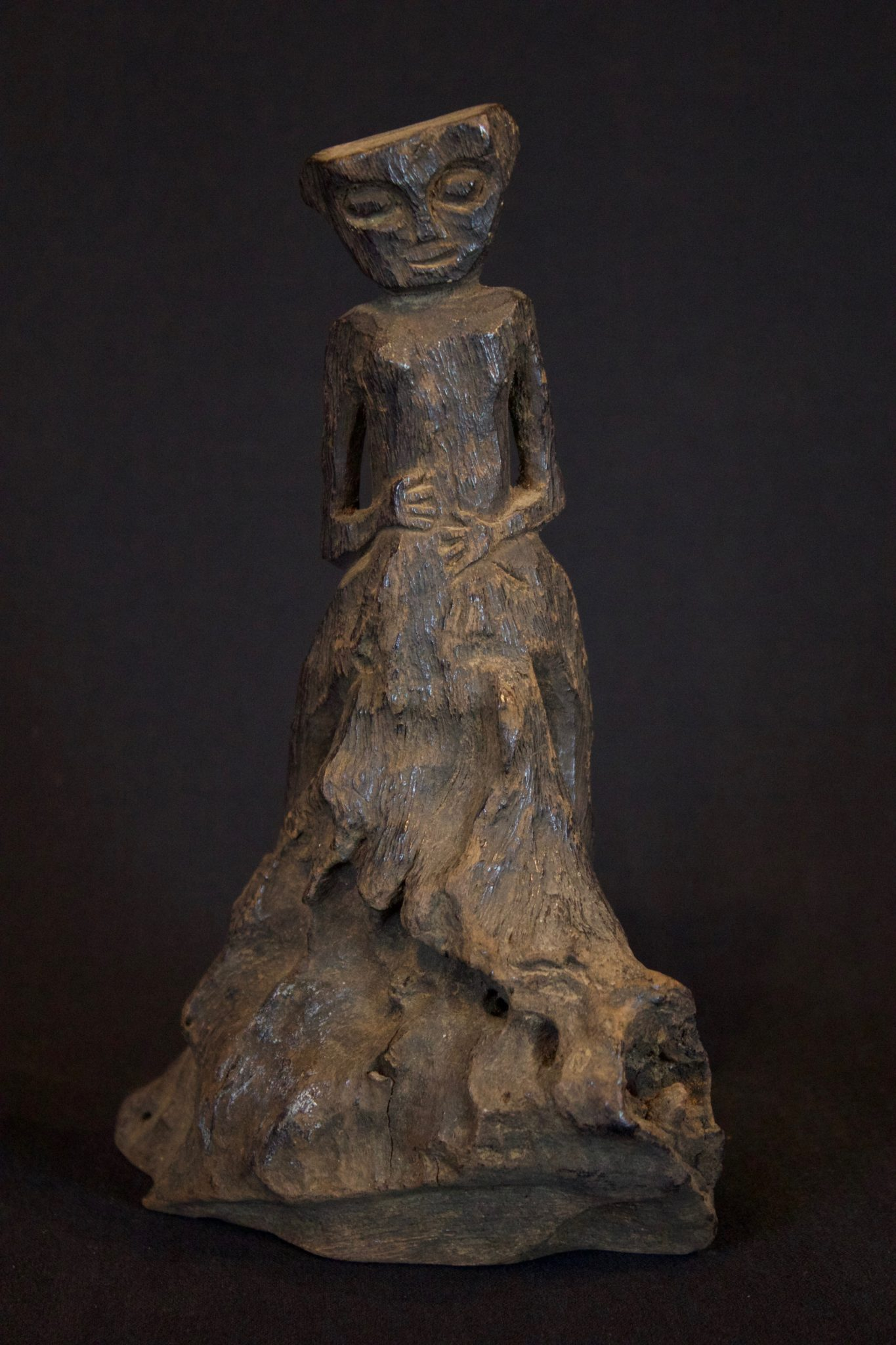 "Shaman Female Amulet Figure, Kalimantan, Borneo, Indonesia, Dayak tribe, Early 20th c, Ironwood. Used for healing treatments, 8 ¼"" x 5"" x 4"", $90."