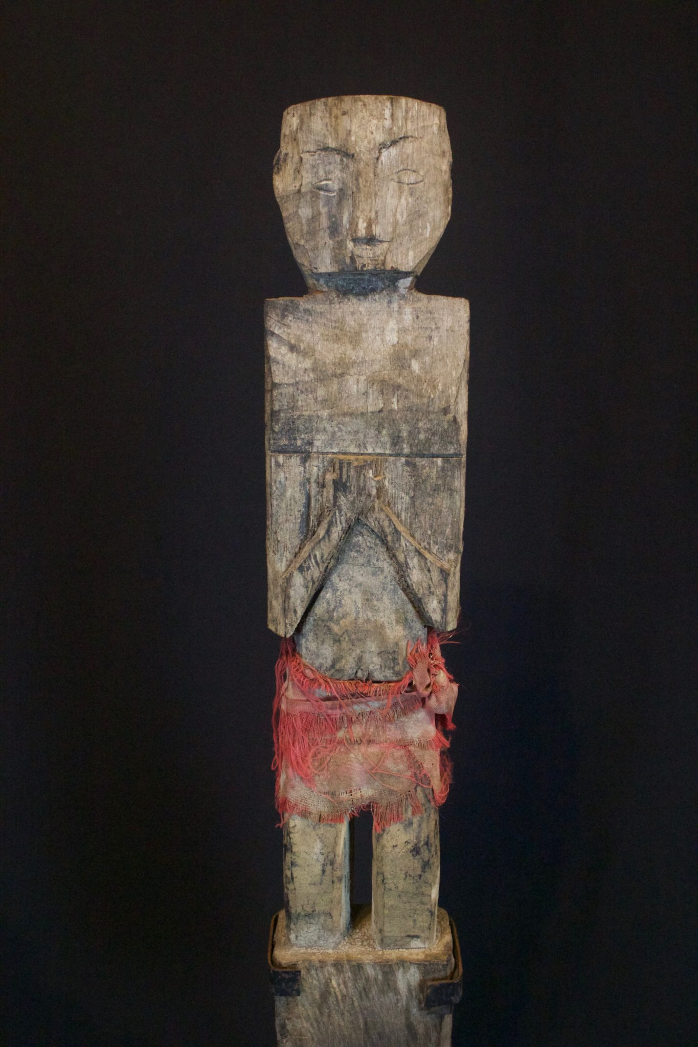 "Shaman Figure with Red Skirt, Kalimantan, Borneo, Indonesia, Dayak, Early 20th c, Wood, cotton cloth. Used for healing and protection. 20"" x 4"" x 2"", $800."