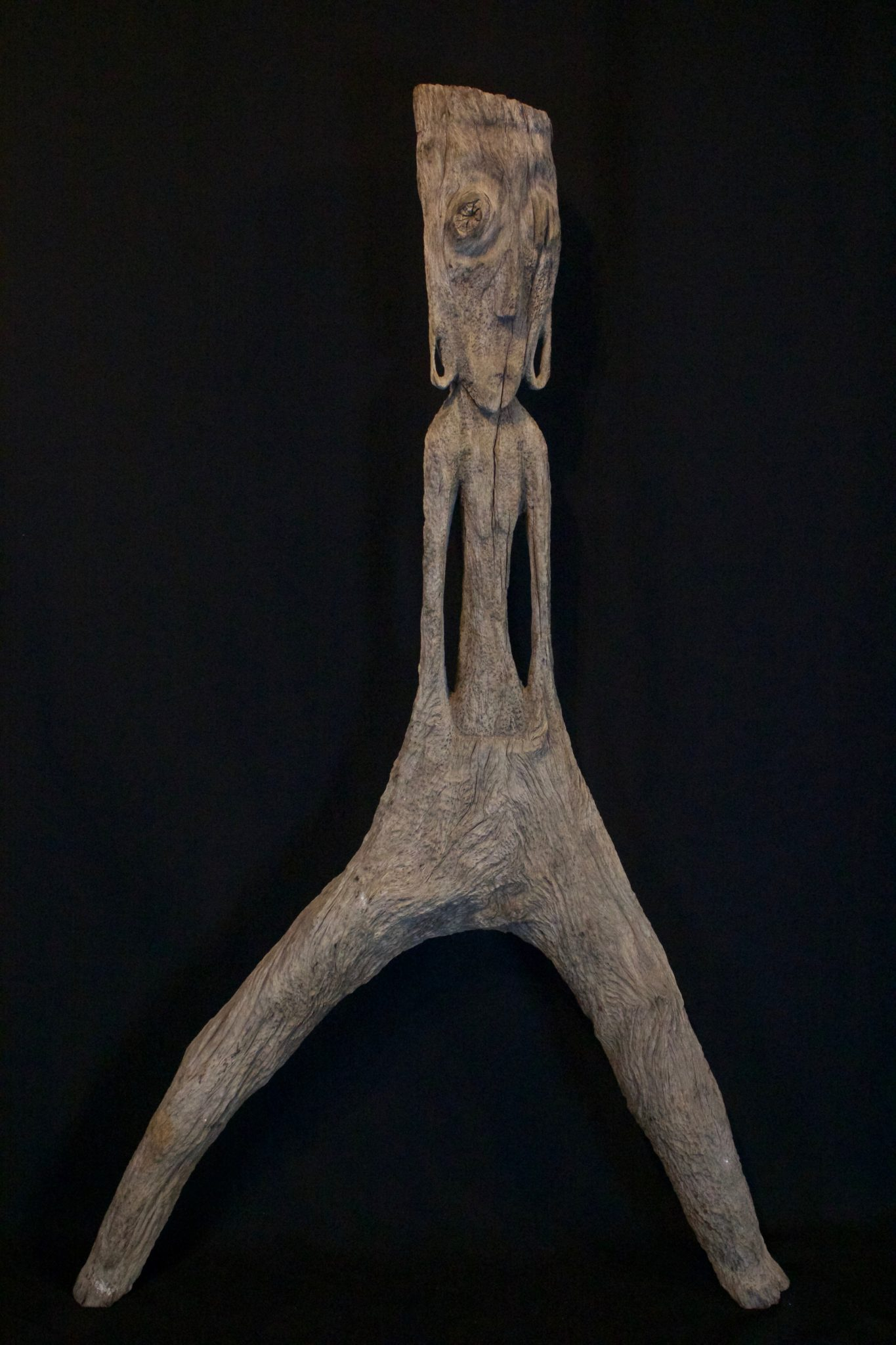 "Magic Protection Figure Kalimantan, Borneo, Indonesia, Dayak tribe, Early to mid 19th c, Ironwood, patinated with use and age. Protection from harmful spirits. 35"" x 21 ½"" 8"", $1600."