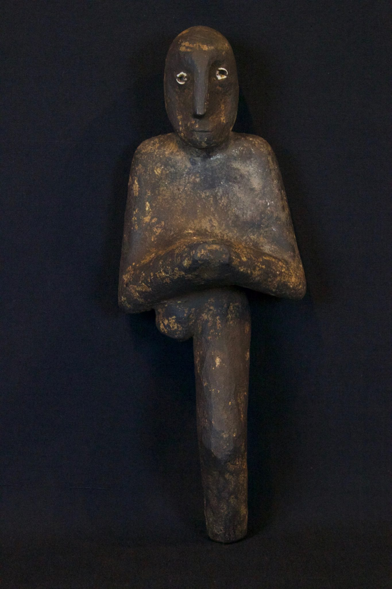 """Shaman Healing Fetish, Kalimantan, Borneo, Indonesia, Dayak tribe, Early to mid 20th c, Wood, pigment, patina. Held in shaman's hand during ritual for healing calling the spirits 10 ½"""" x 4"""" x 3 ½"""", $420."""