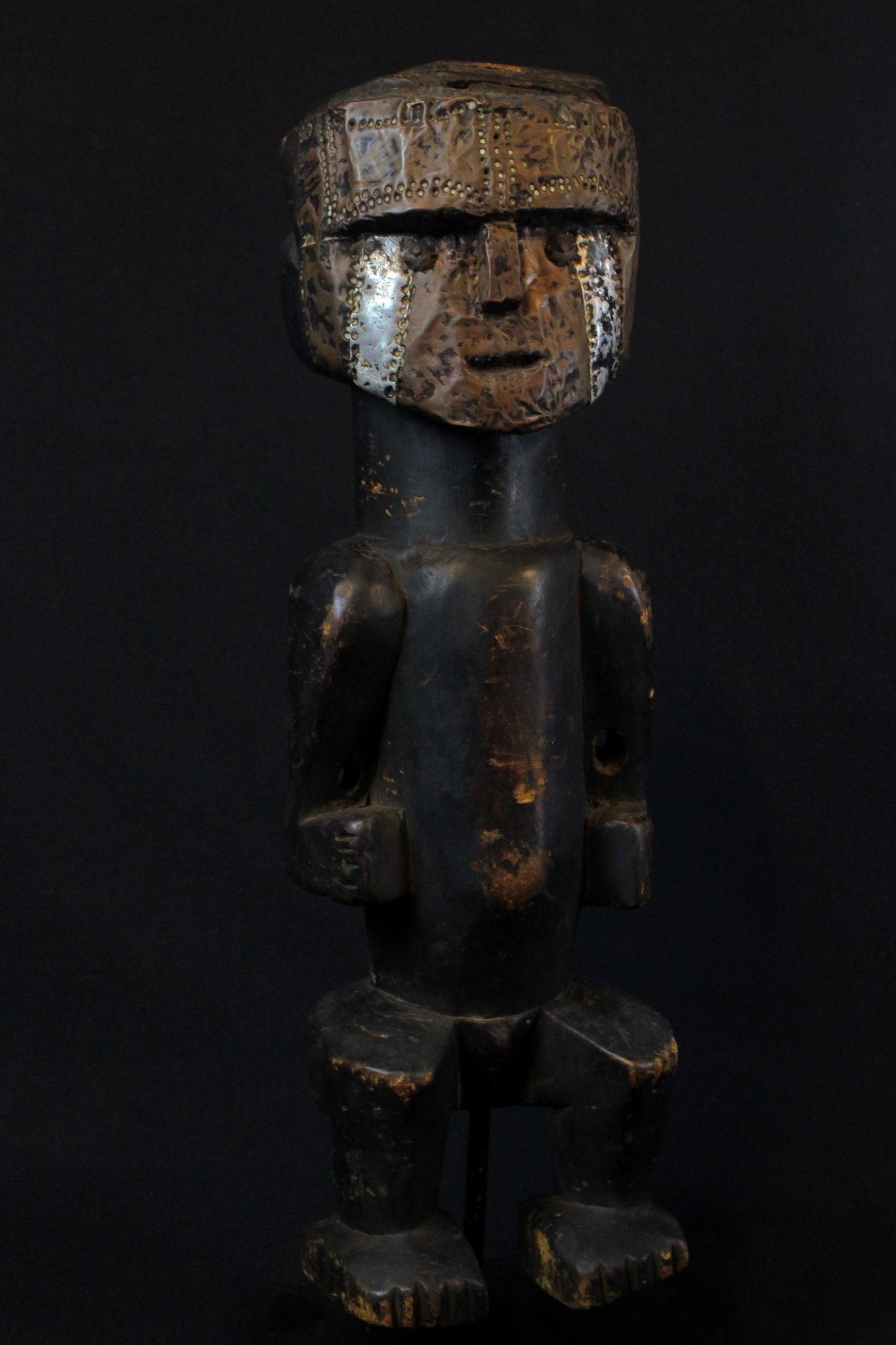 "Shaman Effigy Statue, Sumatra Island, Indonesia, Batak tribe, Early to mid 20th c, Wood, metal, pigment, patinated with use and age. For protecting the shaman during healing rituals. 15 ¾"" x 5"" x 4 ¾"", $800."