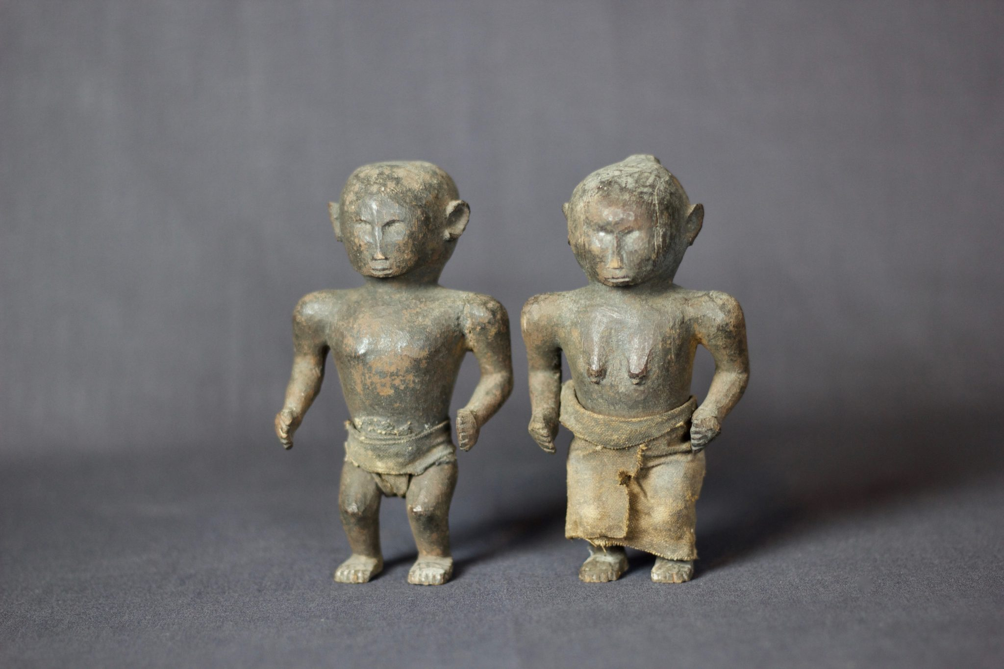 "Shaman Healing Couple Effigy, West Sumba Island, Lesser Sunda Islands, Indonesia, Anakalang village Early to mid 20th c, Wood, fiber cloth, patinated with use and age, Used in healing rituals and to fix marriages. Dimensions: (left, male: 5 ¼"" x 3 ¼"" x 2""); (right, female: 5"" x 3"" x 2""), $420. sold as a pair"