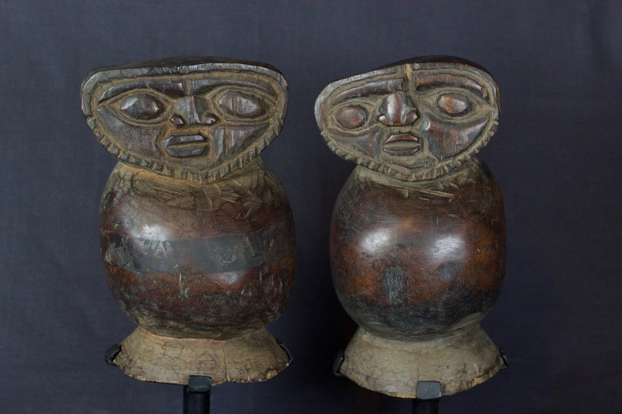 "Magic Ghost Figures, Lombok Island, Lesser Sunda Islands, Indonesia, Early 20th c, Wood, smooth patina from use and age. 8 ½"" x 5 ¾"" x 5 ½"", $790 (sold as pair)"