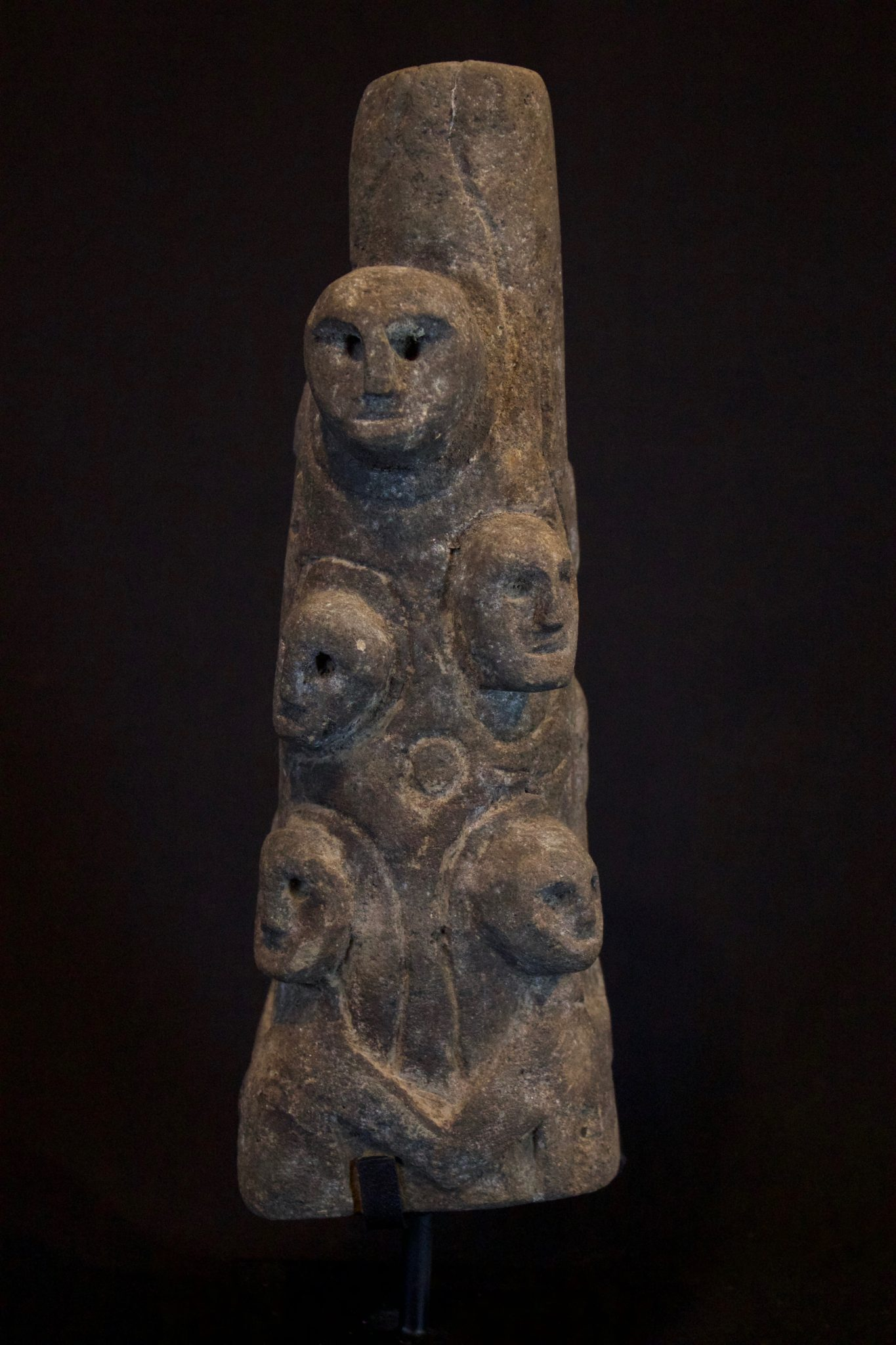 "Ancestral Offering Statue, Indonesia, Timor Island, Boti village, Mid 20th century Wood. This totem-like carving of many ancestor effigies is used by shamans in contacting spirits and healing rituals. 11 ½"" x 4"" x 3 ½"", sold"