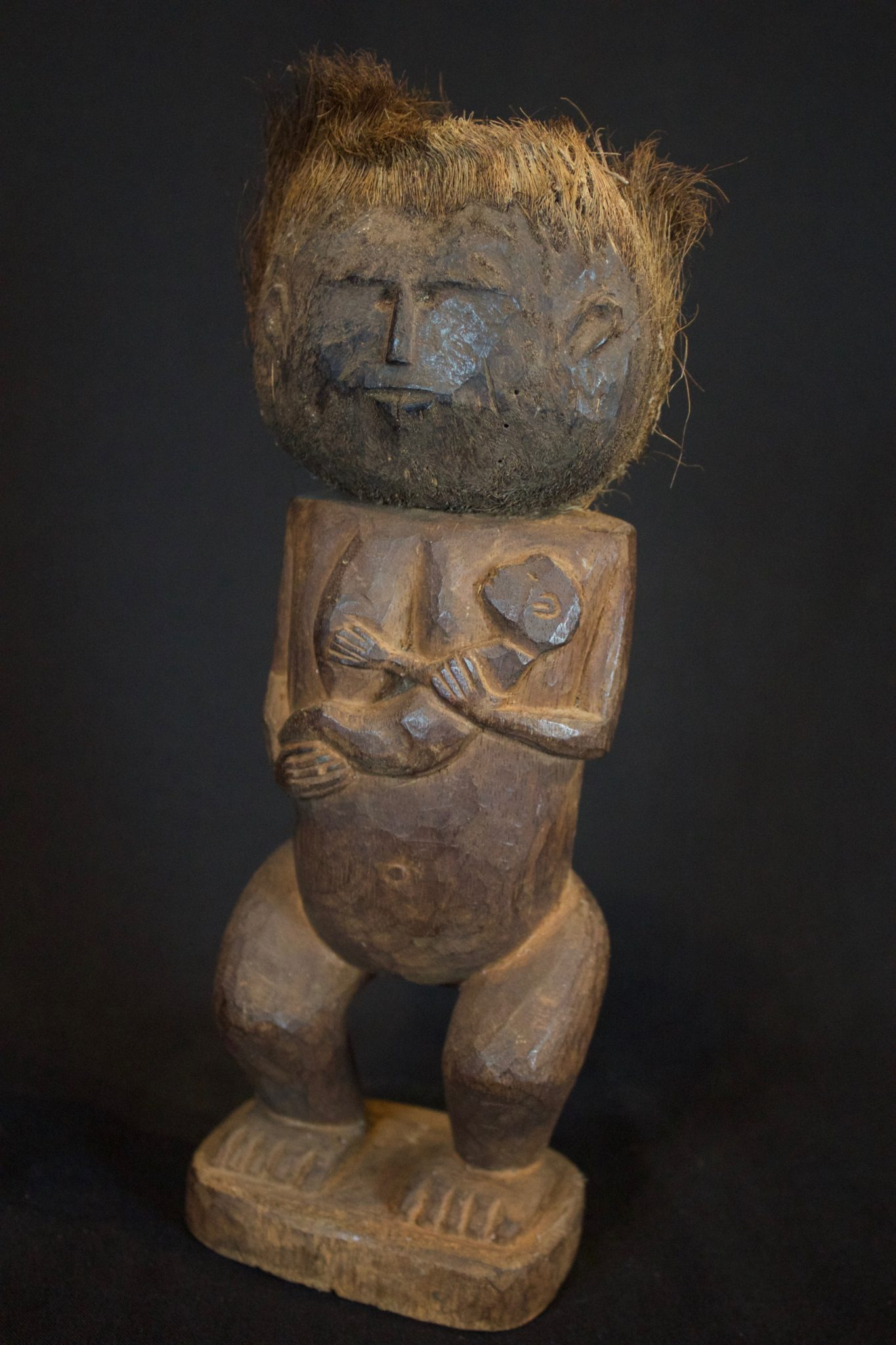 "Medicine Woman Effigy with Child (rare), Alor Island, Flores Islands, Lesser Sunda Islands, Indonesia, Mid to late 20th c, Wood. Used for healing, and for black and white magic (the figure itself does not have any dark energy), 10 ½"" x 3 ½"" x 2 ½"", sold"