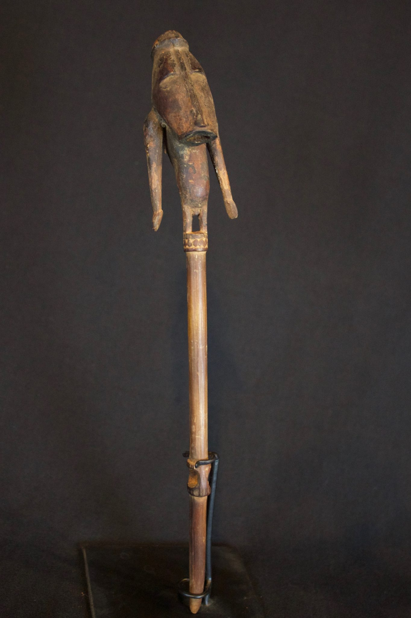 "Shaman Magic Figure, Papúa New Guinea, Indonesia, Early 20th c, Wood, fiber. Used in ritual ceremonies to stop rain. 11 ½"" x 1 ½"" x 1 ¼"", $135."
