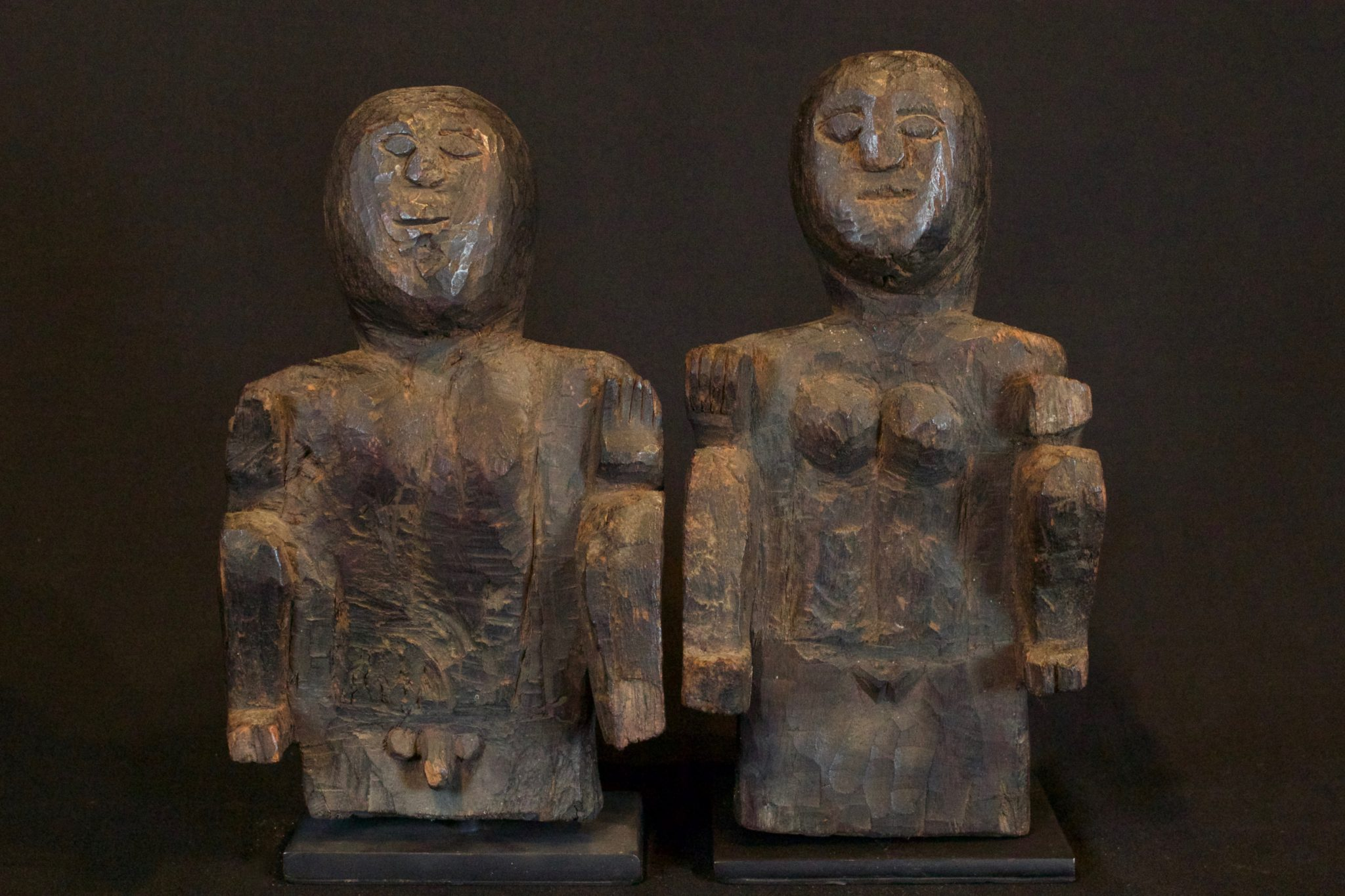 "Ancestral Offering Figures, Timor Island, Lesser Sunda Islands, Indonesia, Anakalang tribe, Early to mid 20th c, Wood. Used by shaman for healing rituals. (left, male fig - 8 ½"" x 5"" x 3 ½""); (right female fig -9"" x 4 ¾"" x 4""), $875. (sold as pair)"