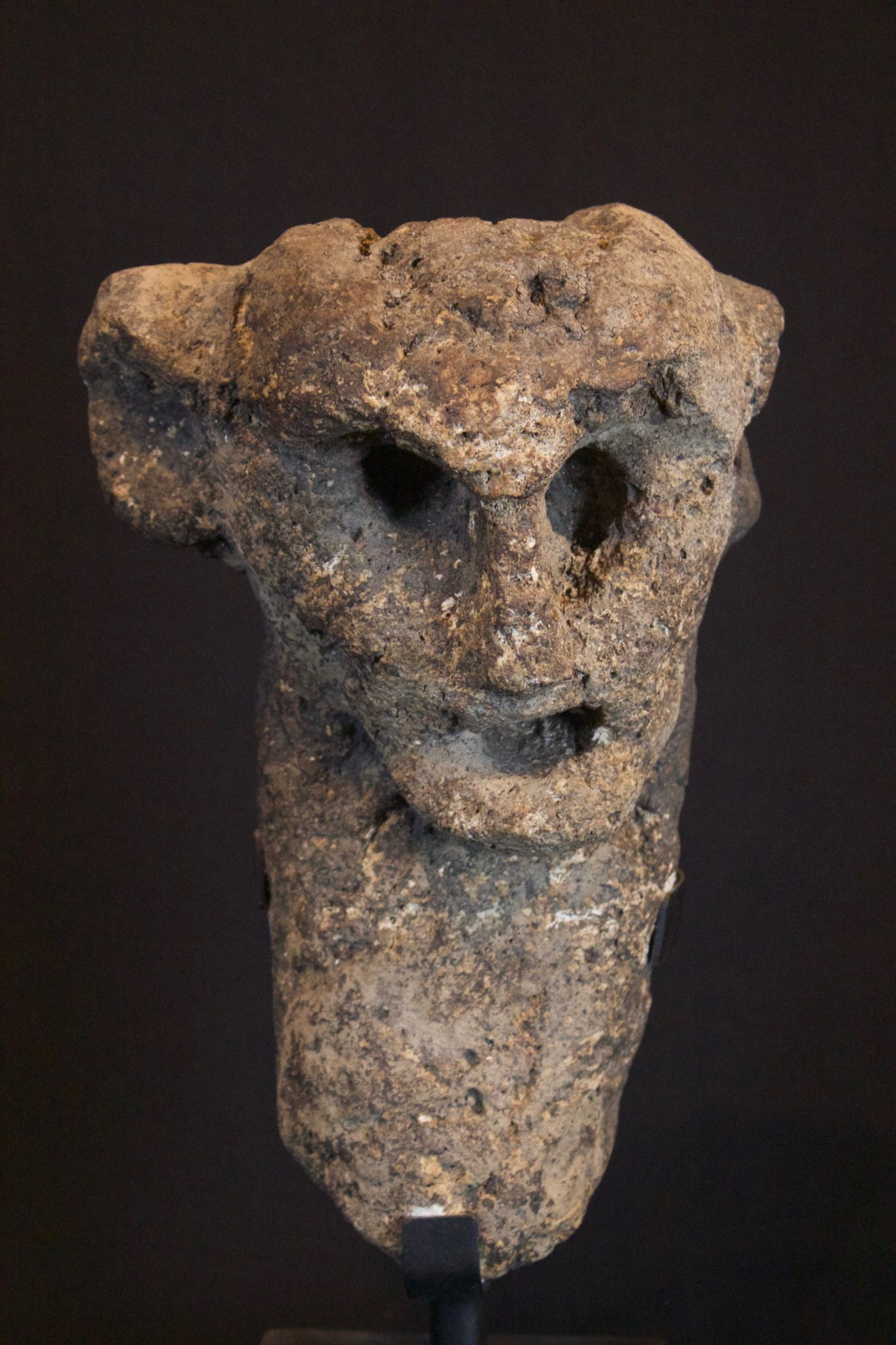 "Shaman's Effigy Figure, West Flores Island, Lesser Sunda Islands, Indonesia, Bena village, Early to mid 10th c. Stone, Used by shaman for healing and divination. 11 ½"" x 7 ½"" x 5 ½"", Sold"