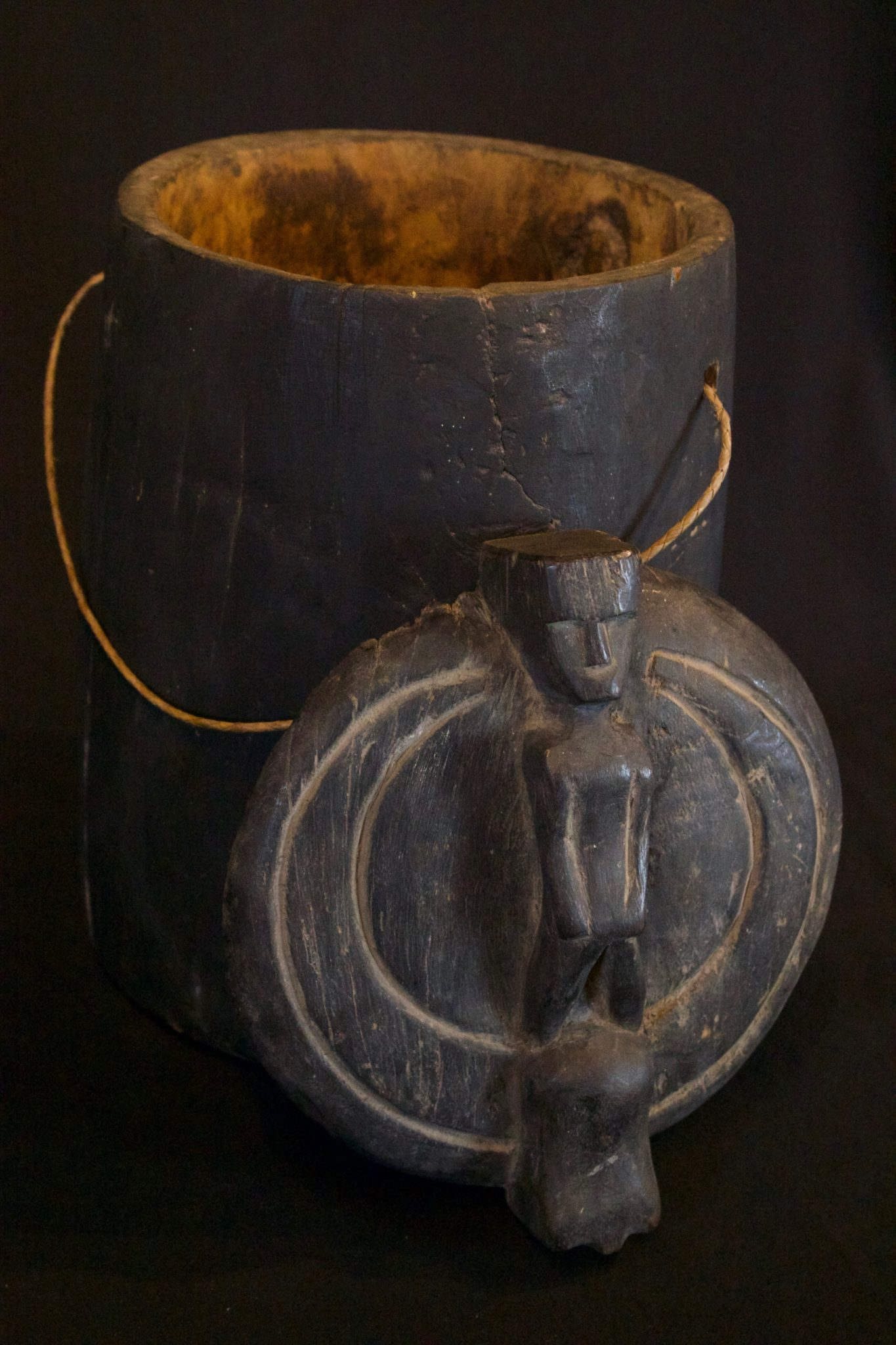 """Shaman's Medicine Box, Sulawesi, Indonesia, Toraja tribe, Early 20th c, Wood, patinated with use and age. Container for medicinal, herbs for healing. 14 ¼"""" x 9 ¼"""" x 8"""", $290."""