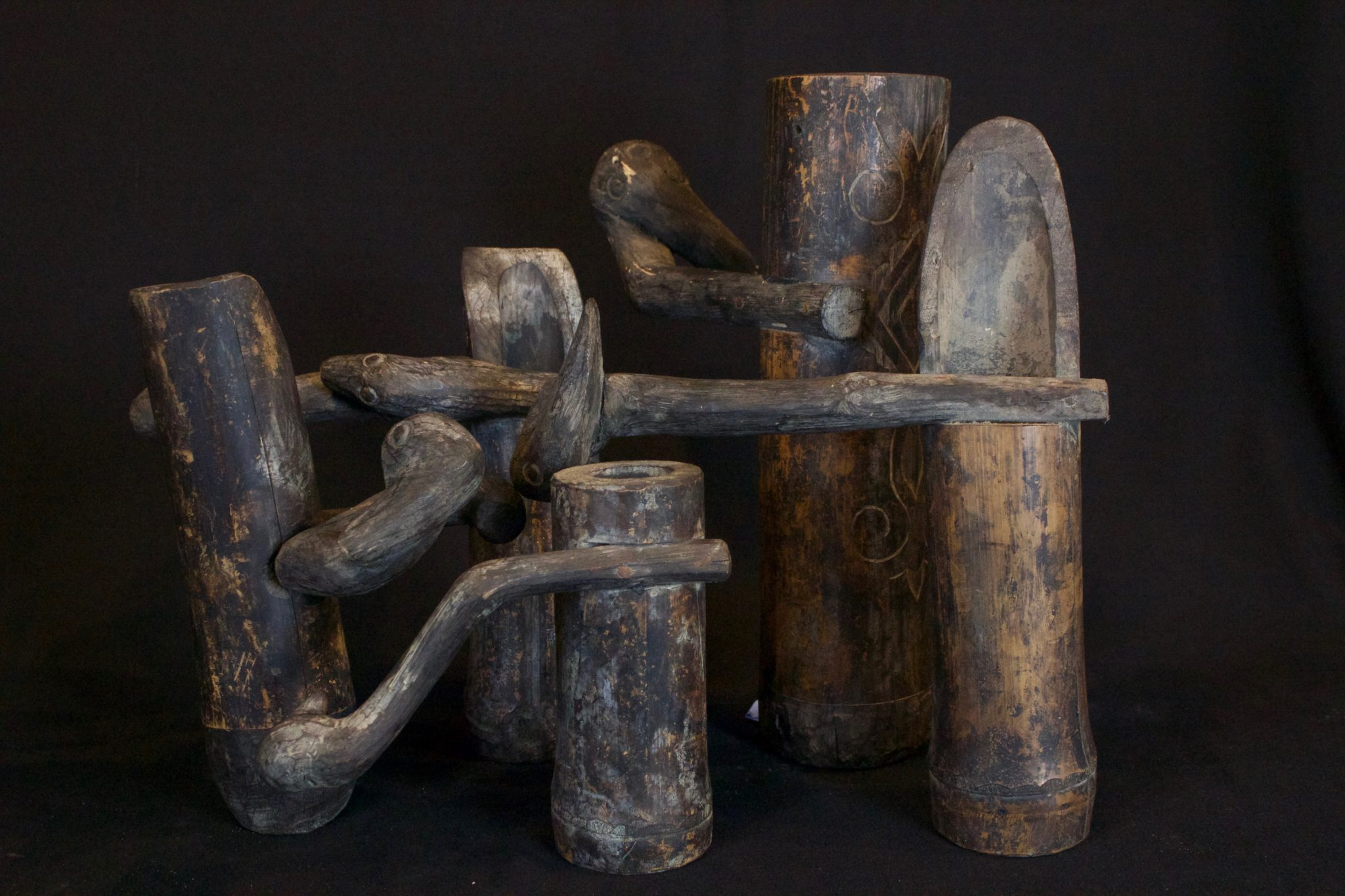"Shaman Sacred Water and Herb Scoop, Lombok Island, Lesser Sunda Islands, Indonesia, Mid 20th c, Wood, bamboo, patinated with use and age. Used for scooping holy water and medicinal herbs for healing rituals. Dimensions left to right: (left - 9 ¼"" x 6 ¼"" x 4 ½"", $160.); (rear middle - 9 ¼"" x 9 ½"" x 3 ½"", $160.); (front middle - 6 ¼"" 7 ¾"" x 2 ½"", $120.); (rear right - 12 ¼"" x 9 ¼"" x 3 ½"", $280.); (right front - 11 ½"" x 10"" x 3 ½"", $160.)"