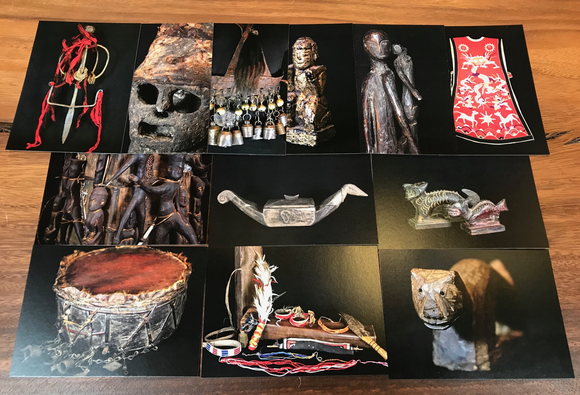 Postcards of selected pieces from the Shamanic Objects exhibition at David Alan Collection. they are a collection of pieces from Nepal, Vietnam , Myanmar and from several different islands in Indonesia. They are all authentic, rare objects used by Shaman priests for healing and for other various tribal rituals performed for the good of the community