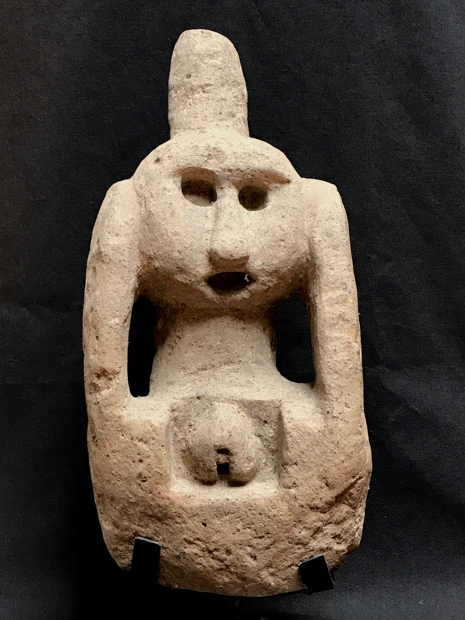 "Female Magic Figure, Shaman uses this for prayer and to gather healing power to treat people. Kodi village, West Sumba, Indonesia, early to mid 20th c., stone, 14 1/2"" x 7"" x 6 1/2"" without base (16 1/2"" with base),"