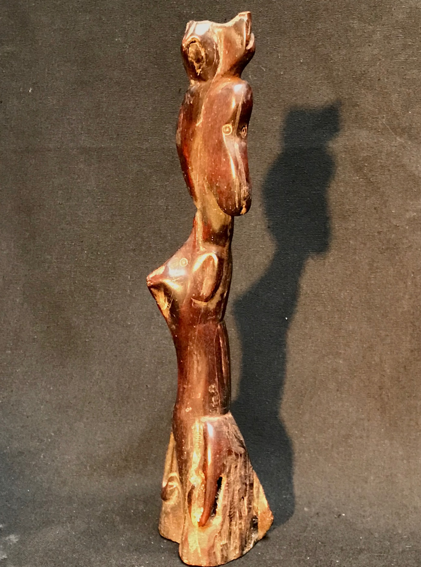 "Shaman's Power Object/Healing Wand, Cat, Horse, Dog, Bird, Sumba Island, Indonesia, Early 20th c., wood, 9 1/2"" x 2 1/4"" x 2"""
