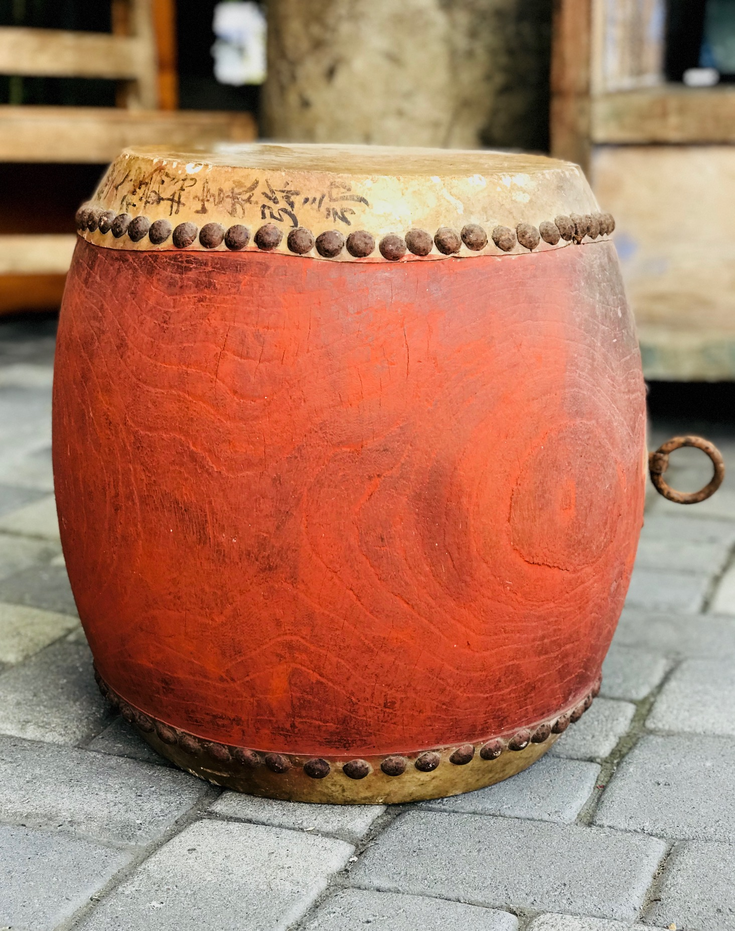 "Musical Instrument, Early 19th c Edo Period Taiko Style (tacked down) Japanese Drum, Keyaki wood (Japanese Red Elm), rawhde, red paint metal tacks, ink, 19"" x 18"", $1250.; thedavidalancollection.com , solana beach, ca"
