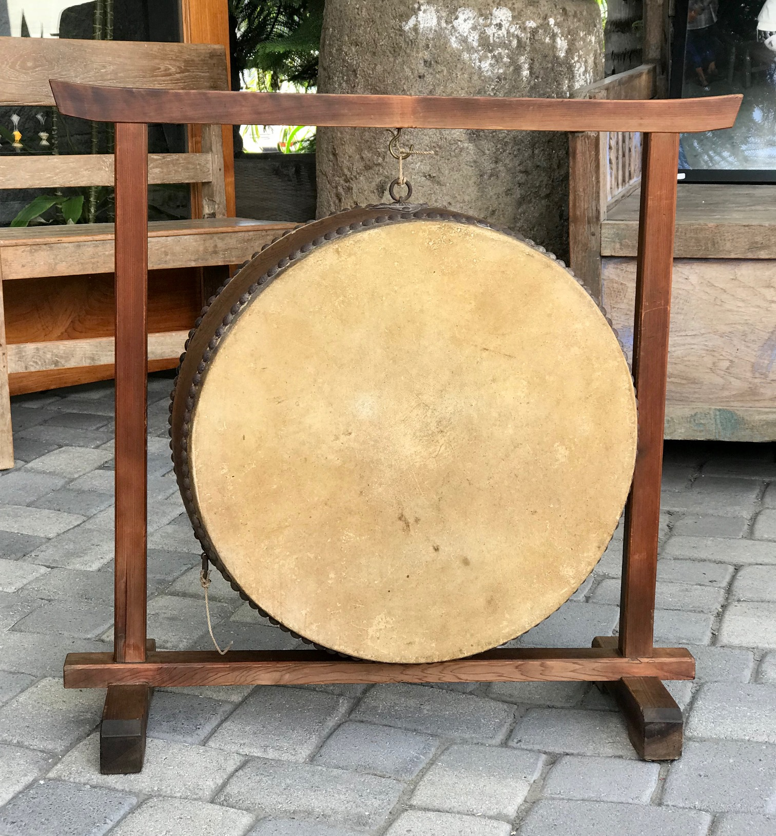 "Japanese Hanging Temple Drum, wood, rawhide, metal tacks and rings, 22 1/2"" x 33"", (31"" x 33"" with frame), $950.; thedavidalancollection.com , solana beach, ca"