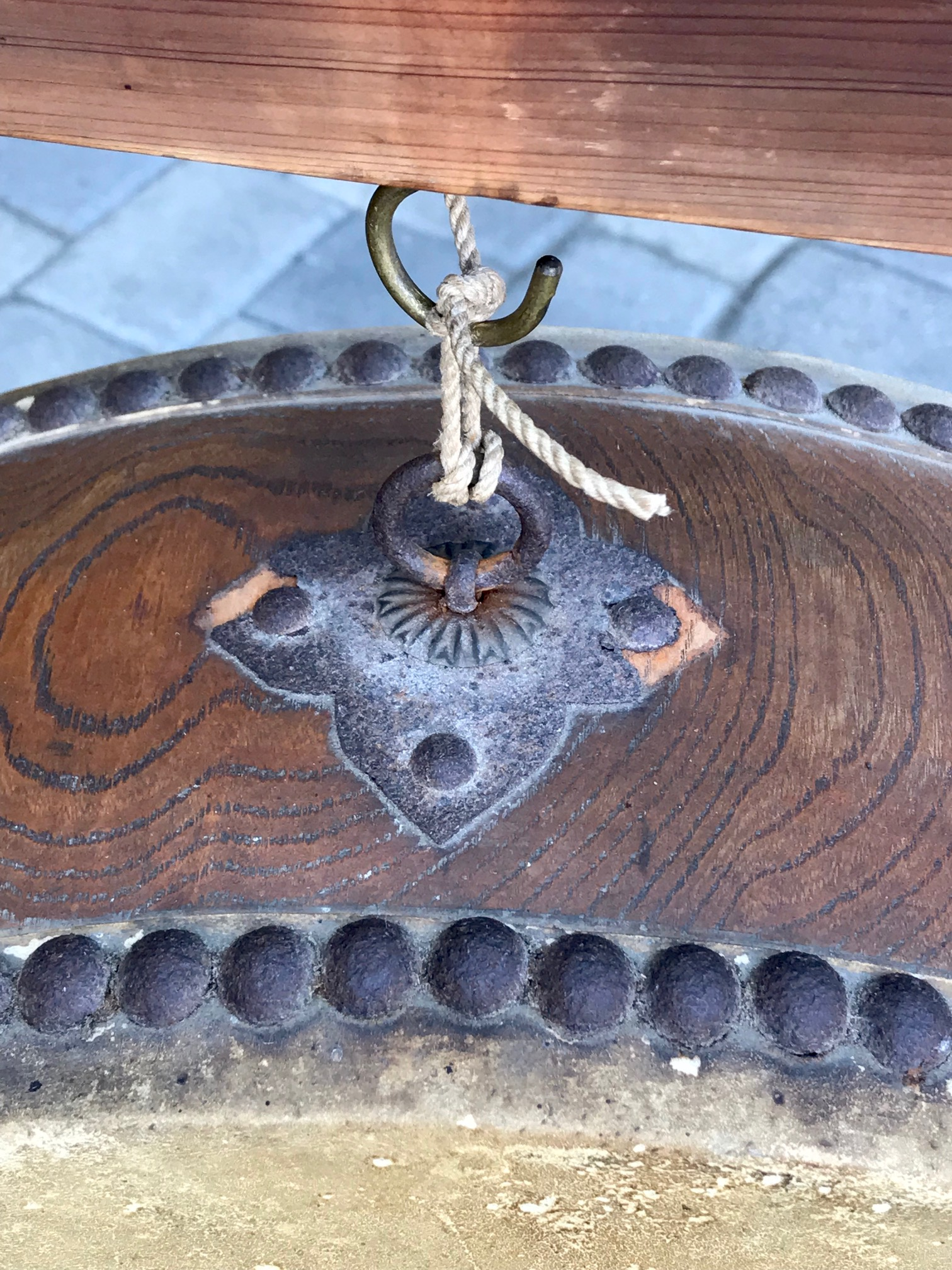 top detail of Japanese Hanging Taiko Style Drum