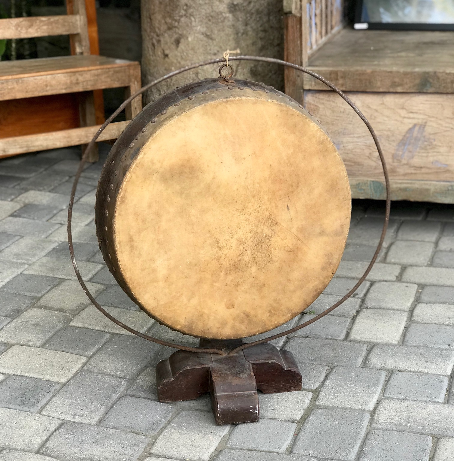 "Japanese Hanging Drum, wood and metal frame, rawhide skin tacked down. 21 1/2"" x 6"", (30"" x 27"" x 13"" with stand), $750.; thedavidalancollection.com , solana beach, ca"