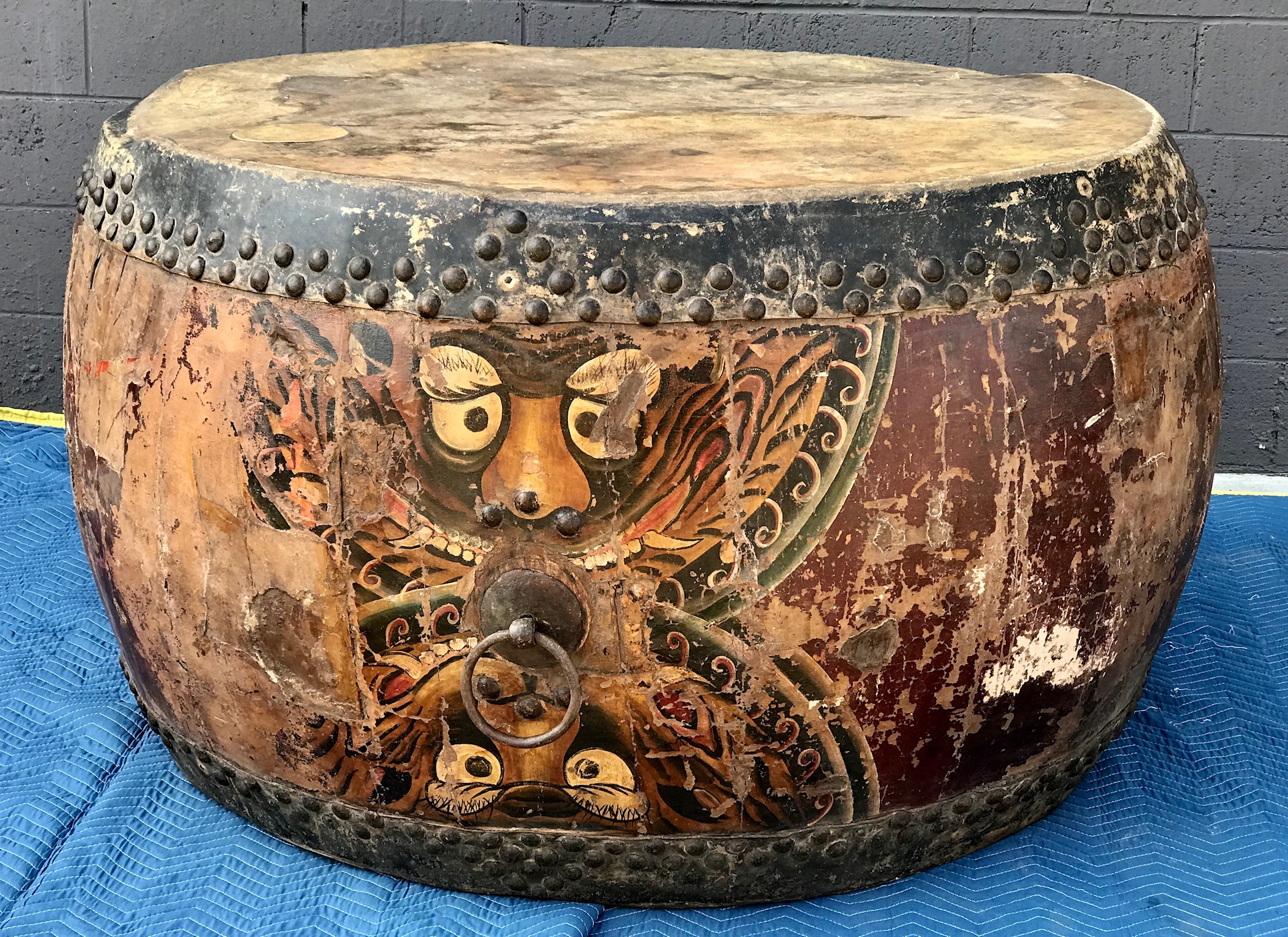 "Musical Instrument, Large Drum, Byo-Uchi-Daiko (drum with tacks), China, vintage, Wood, metal, hide, paint, 60"" x 35"", $, thedavidalancollection.com , solana beach, Ca"