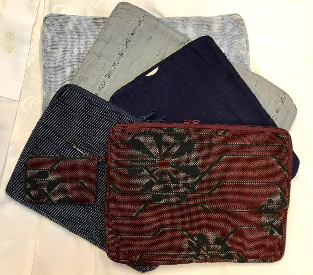 vintage kimono accessory, assorted computer cases, shoulder, clutch and coin purses and travel bags, thedavidalancollection.com , solana beach, ca