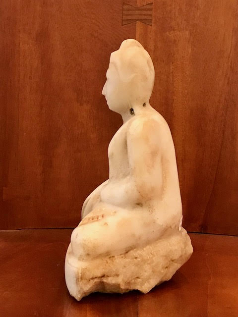 Mandalay Style Hand Carved Marble Buddha - side view